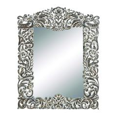 Benzara Attractive Traditional Designed Wood Carved Mirror With Floral Pattern