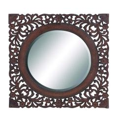 """Oval Shaped 36"""" Mirror In Brown Finish With Wooden Frame"""