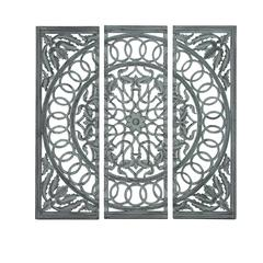Benzara Modern Wooden Carved Mirror Panel In Intricate Detail Work