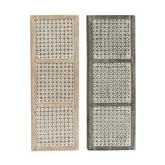 "Benzara Striking Wood Metal Wall Panel 2 Assorted 12""W, 36""H"