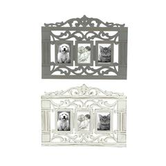 Square Shaped Antique Themed Set Of 2 Wooden Wall Photo Frames