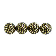 Attractive Dark Gold Mosaic Ball Set Of Four