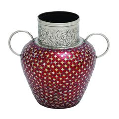 Decorative Metal Glass Mosaic Vase With Two Handles