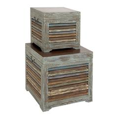 Benzara The Gems Set Of 2 Wood Trunk