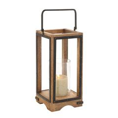 Benzara Amazing Styled Wood Metal Glass Lantern