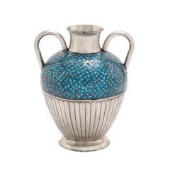 Benzara The Stunning Metal Mosaic Turquoise Vase