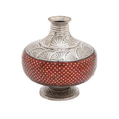 Benzara The Extraordinary Metal Mosaic Red Vase