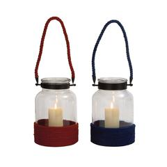 Elegant Styled Classy Glass Rope Lantern 2 Assorted
