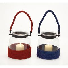 The Cute Glass Metal Rope Lantern 2 Assorted