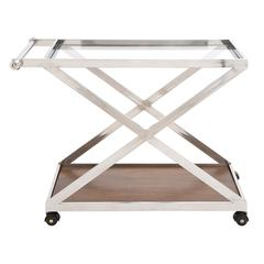 Benzara The Cool Stainless Steel Wood Glass Cart
