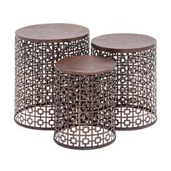 Benzara The Cute Set Of 3 Metal Accent Table