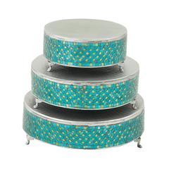 Benzara Remarkable Set Of Three Metal Mosaic Cake Stand