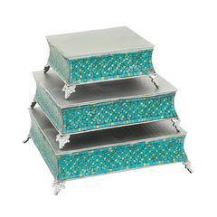 Royal Set Of Three Metal Mosaic Cake Stand