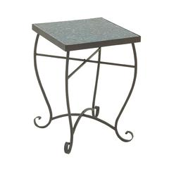 Benzara Gorgeous Metal Turquoise Mosaic Side Table