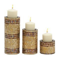 Benzara Scintillating Set Of Three Metal Mosaic Candle Holder