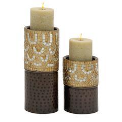 Benzara Charming Set Of Two Metal Mosaic Candle Holder