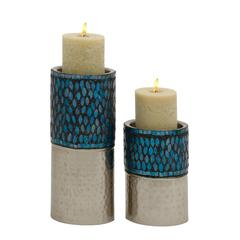 Unique Set Of Two Metal Mosaic Candle Holder