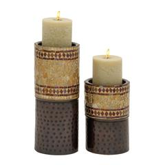 Benzara Mesmerizing Set Of Two Metal Mosaic Candle Holder