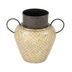 Charmingly Styled Metal Mosaic Vase