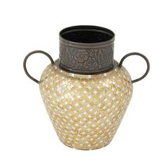 Remarkably Styled Metal Mosaic Vase