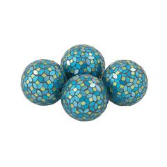 Benzara Attractive Pvc Glass Turquoise Mosaic Orb Set Of 4