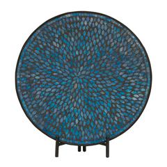 Benzara Unique Metal Blue Mosaic Platter With Easel