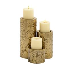Benzara Too Beautiful Metal Candle Holder Set Of 3