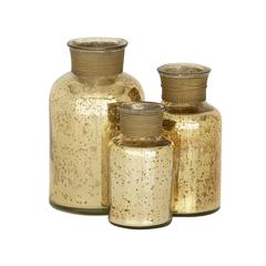 Benzara Show Off With Glass Gold Bottle Set Of 3