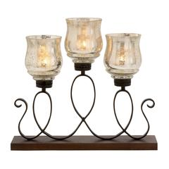 Benzara Mesmerizing Metal Wood Glass Candle Holder