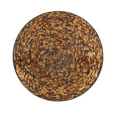 Modernly Styled Metal Brown Mosaic Wall Platter