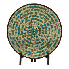 Mesmerizing Metal Mosaic Platter With Stand