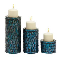 Benzara Marvelous Set Of Three Metal Mosaic Candle Holder