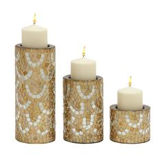 Innovative Set Of Three Metal Mosaic Candle Holder