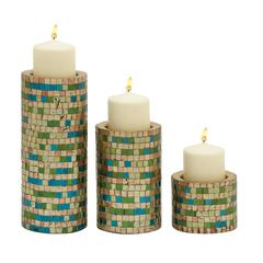 Remarkable Set Of Three Metal Mosaic Candle Holder