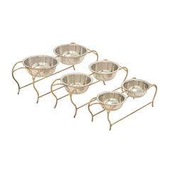 Benzara Polished Metal Dog Feeder Set Of 3