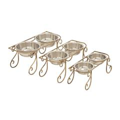 Benzara Simple And Gorgeous Metal Dog Feeder Set Of 3