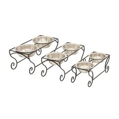 Simple And Beautiful Metal Dog Feeder Set Of 3
