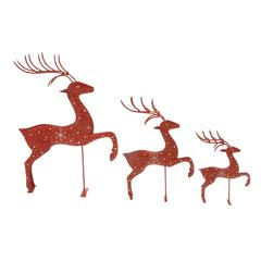 Wonderful Set Of 3 Metal Reindeer