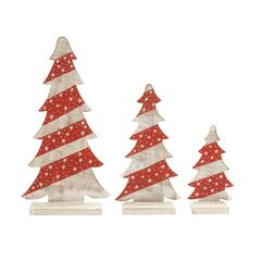 Benzara Set Of 3 Wooden Carved Adorable Christmas Trees