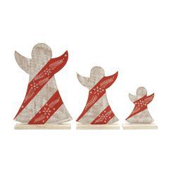 Benzara Adorable Set Of 3 Wood Angel