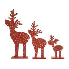 """Benzara Gorgeous Orange Wood Deer Set Of 3 15"""", 23"""", 29""""H"""