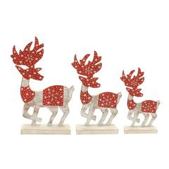 "Pretty Wood Deer Set Of 3 10"", 12"", 14""H"