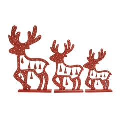 "Appealing Set Of 3 Wood Metal Reindeer20"", 24"", 29""H"