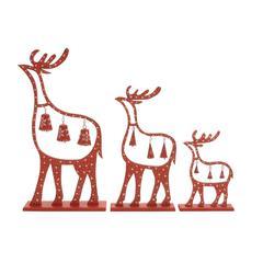 """Benzara Alluring Set Of 3 Wood Metal Reindeer15"""", 23"""", 29""""H"""