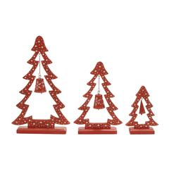 "Stunning Set Of 3 Wood Metal Xmas Tree 10"", 15"", 20""H"