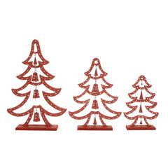 "Red Wood Metal Xmas Tree Set Of 3 19"", 24"", 30""H"