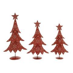 Benzara Set Of 3 Metal Xmas Tree