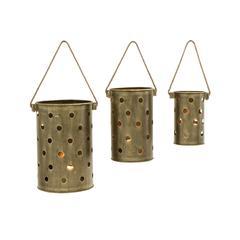 Benzara Set Of Three Metal Candle Lantern