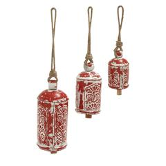 Benzara Set Of 3 Prepossessing Metal Wood Bell
