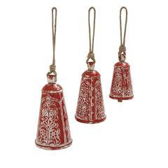 Benzara Set Of 3 Prepossessing Metal Wood Bell
